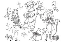Vector Black & White Pirate Girl Set
