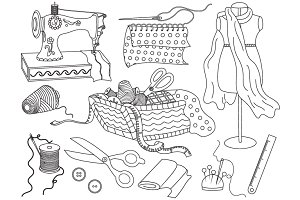 Vector Black and White Sewing Set