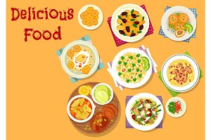 Appetizing dishes icon for lunch menu design