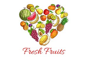 Fresh fruits and berries heart shape poster