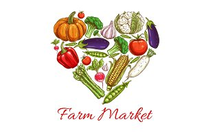 Heart of vegetables poster for farm market design