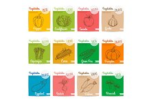 Vegetables vector sketch icons with names