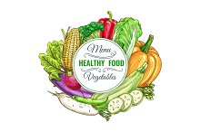 Healthy food vegetables vector poster