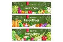 Vegetables healthy farmers food banners set