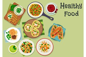 Breakfast dishes icon for healty menu design