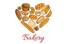 Bakery bread poster in heart shape