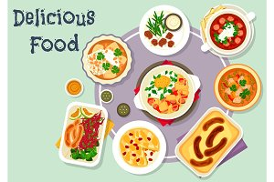 Snack dishes for lunch menu icon design