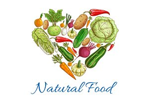 Natural vegetables food in heart symbol