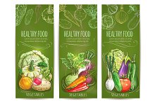 Vegetables healthy vegetarian food sketch banners