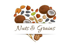 Heart made up of nut, grain, seed and bean