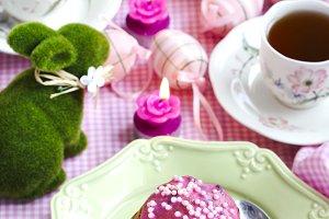 Easter cake on festive Easter table