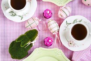 Easter cake on festive Easter table.
