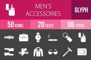 50 Men's Items Glyph Inverted Icons