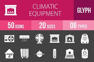 50 Climatic Glyph Inverted Icons