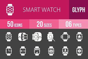 50 Smart Watch Glyph Inverted Icons