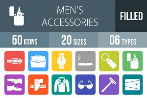 50 Men's Items Round Corner Icons