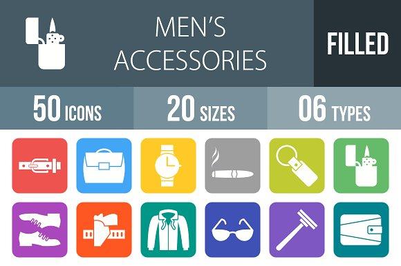 50 Men's Items Round Corner Icons