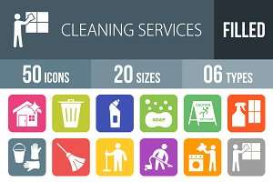 50 Cleaning Flat Round Corner Icons