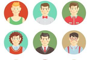 boys avatar faces in flat style