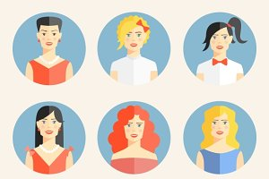 fashionable women flat icons
