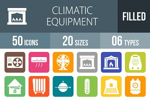 50 Climatic Flat Round Corner Icons
