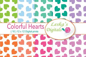 Rainbow Heart Digital Paper