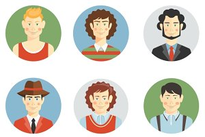 Boys and men faces icons