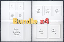 BUNDLEx4 basic white frame mockup