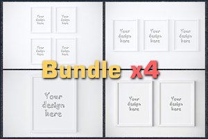 BUNDLEx4 basic white frame mockup