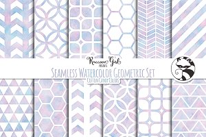 Seamless Watercolor Geometric Set cc