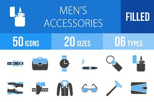 50 Men's Items Blue & Black Icons