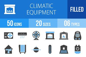 50 Climatic Blue & Black Icons