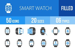 50 Smart Watch Blue & Black Icons