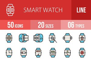 50 Smart Watch Filled Line Icons
