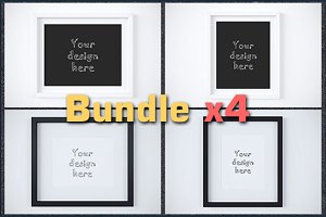 Bundle x4 styled stock frames mockup