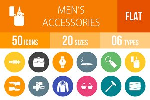 50 Men's Items Flat Round Icons