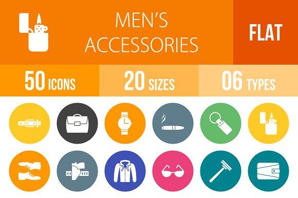 50 Men's Items Flat Round Icons