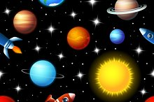rockets and planets seamless pattern