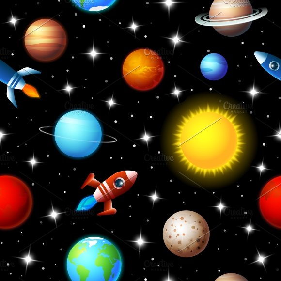 Rockets And Planets Seamless Pattern Graphic Patterns