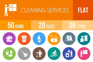 50 Cleaning Flat Round Icons