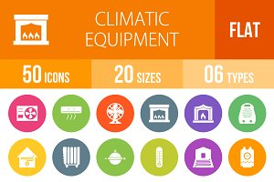 50 Climatic Flat Round Icons