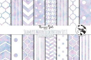 Seamless Watercolor Pattern Set #1cc