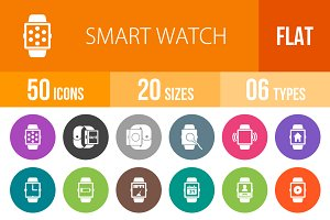 50 Smart Watch Flat Round Icons