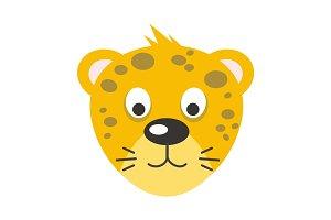 Leopard Face Vector Illustration in Flat Design