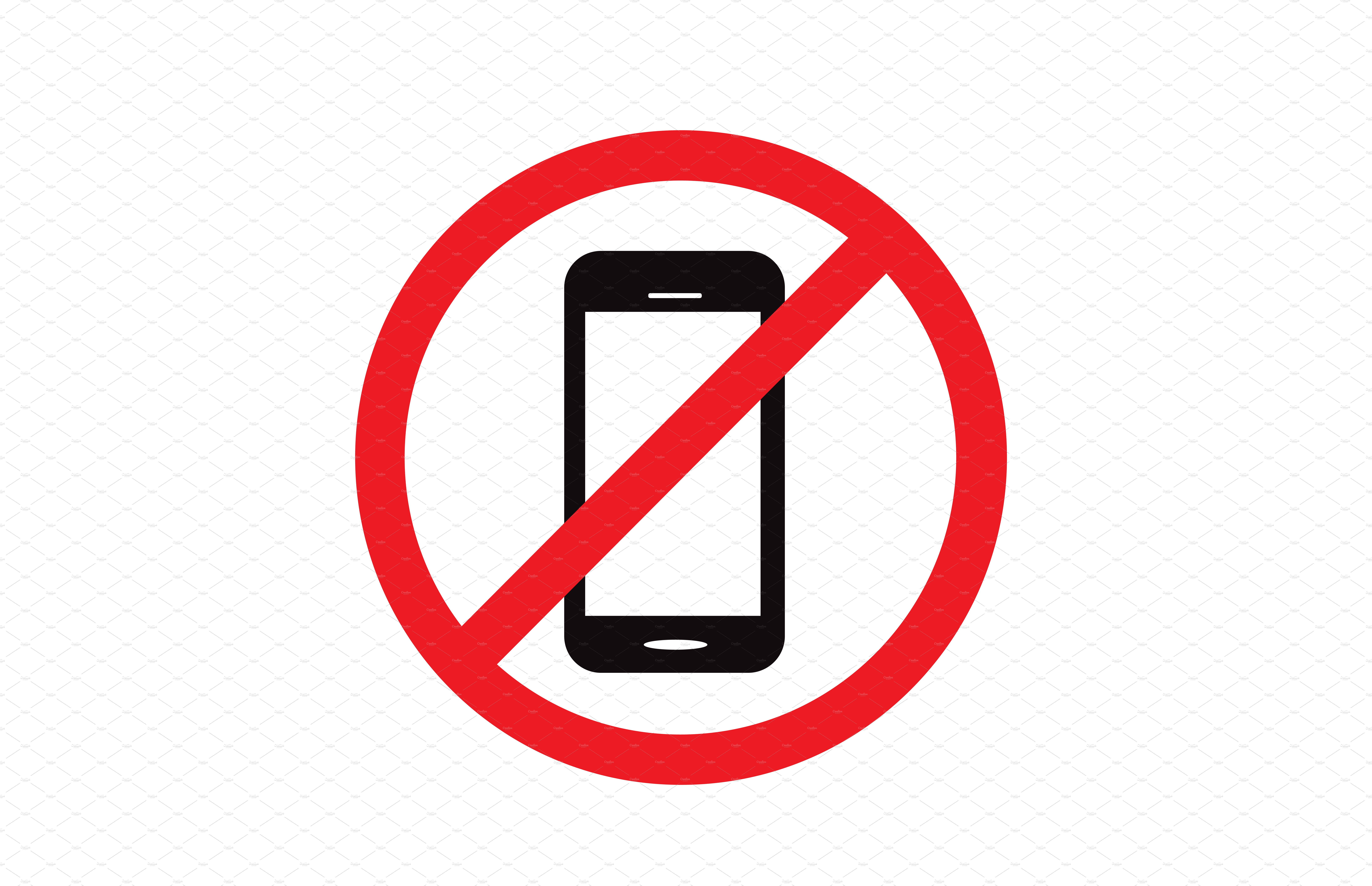 no cell phone sign vector graphics creative market