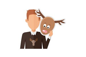 Man with Deer Mask Flat Design Vector Illustration