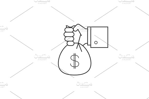 Hand With Bag Of Money Line Icon