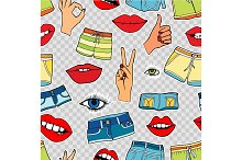 pattern with fashion patch badges