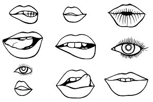 eyes and lips icons set