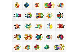 Set of Christmas Snowflake Banner Templates